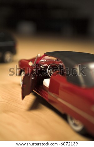 model car close up shot on hardwood floor