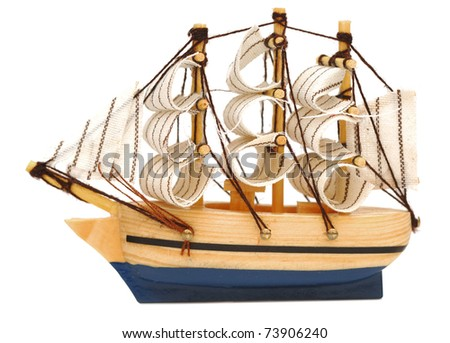 model classic boat on white background