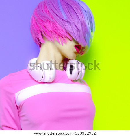 Model DJ Creative pop art style. Minimal design fashion Sweet colors #550332952