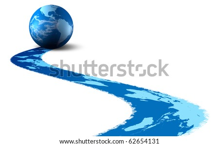 Model earth. Effect of a print of a trace. It is isolated on a white background