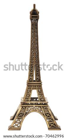 model Eiffel tower on white