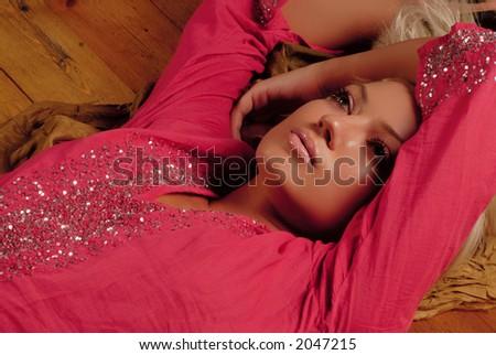 model girl dressed red
