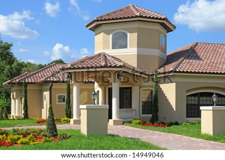 model home entrance with a beautiful blue sky stock photo 14949046