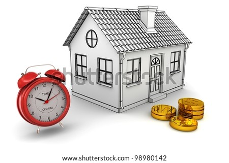 Model home, red alarm clock, stack of gold dollar coins. 3d rendering