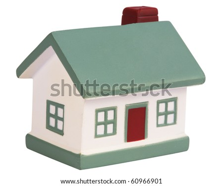 Model house ,isolated on white with clipping path. - stock photo