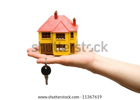 model house on a hand studio isolated