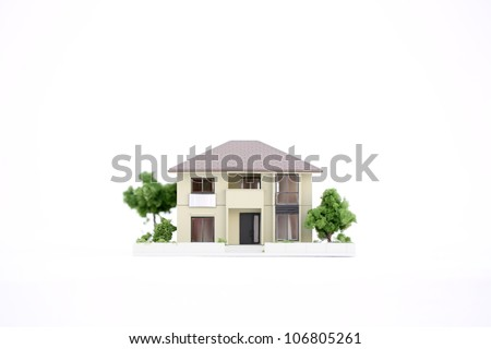 model house on white - stock photo