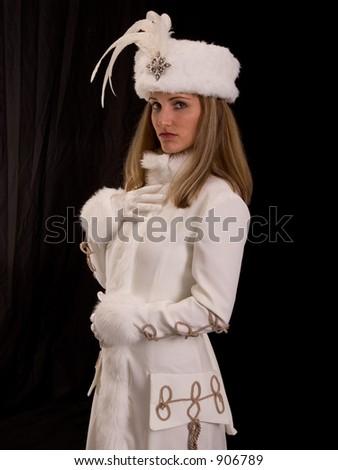 Model in White Fur Coat