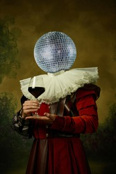 Model like medieval royalty person headed of disco ball in vintage clothing. Concept of comparison of eras, artwork, renaissance, baroque style. Creative collage. Surrealism