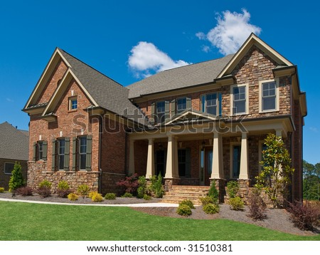 Model Luxury Home Exterior side view with columns