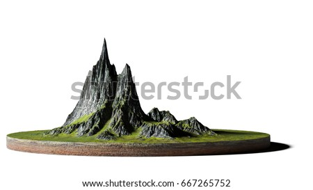 model of a cross section of ground with mountains and meadows (3d illustration, isolated on white background)