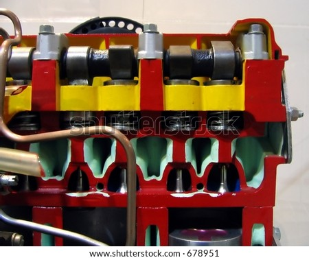Model of a Diesel Engine -- a cross section enables an inside view