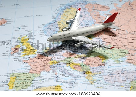 Model of a passenger aircraft on a map of Europe #188623406