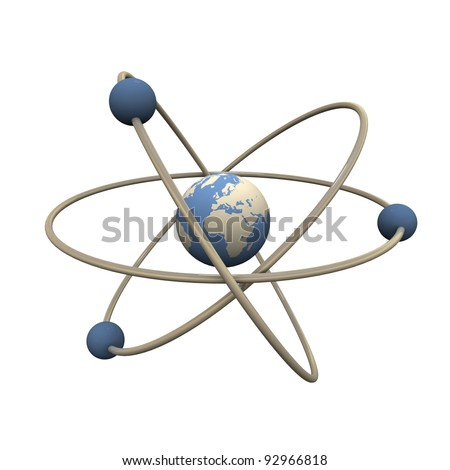 Model of abstract atom. Center is Earth.