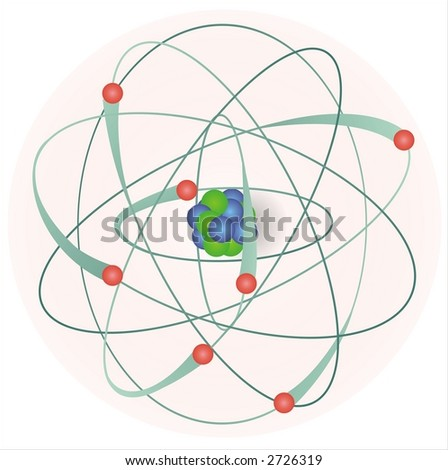 model of an atom with electrons, neutrons and protons