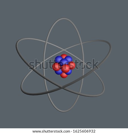 Model of an atom with protons, electrons, neutrons and orbit