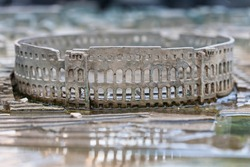 Model of an old amphitheater in Pula in Isra, Croatia