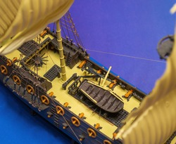 Model of an old military sailing ship. Ship deck and equipment. Models for assembly. Assembled models of military equipment. KIT models.