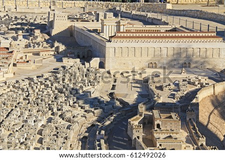 Model of ancient Jerusalem at the time of the second temple focusing on the Temple Mount, Lower City homes and surrounding buildings.