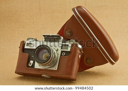 Model of classical 35 mm camera in the middle of the nineteenth century