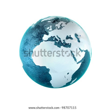 Model of Earth. Conceptual symbol of the Earth. Africa and Europe view. Planet earth model isolated on white background