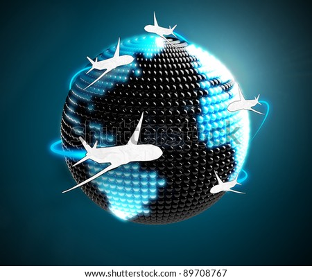 Model of Earth made of  color beads with aircraft flying around. Airplane routes on world map.The metaphor of international air travel around the world