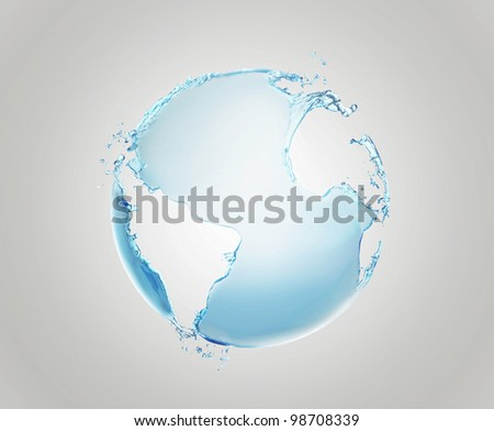 Model of Earth made of water splashes. Conceptual symbol of the Earth.  Planet earth model isolated on a gray background.