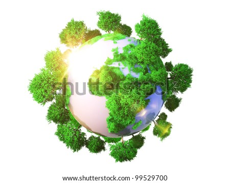 Model of Earth with oversized trees. Miniature planet with sparse leafy tree vegetation. Conceptual symbol of the Earth
