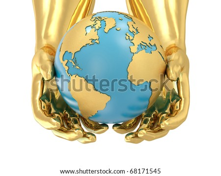 Model of golden hands and planet Earth