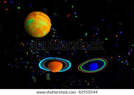 Model of planets in solar system (Jupiter, Saturn, Uranus).