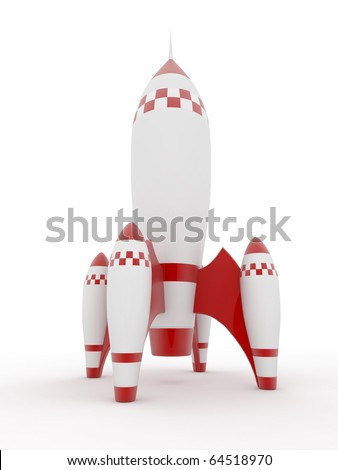Model of rocket on white isolated background. 3d