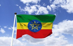 Model of the flag of Ethiopia in the wind. Located in the Horn of Africa, one of the countries with more history of the world, African continent, interesting places: Simien Park, Lake Tana, Mountains