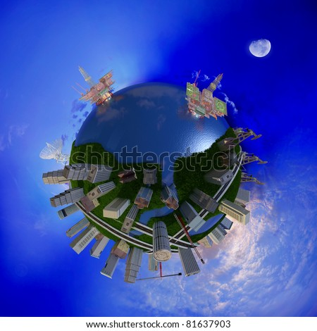 Model of the globe on a background sky - stock photo