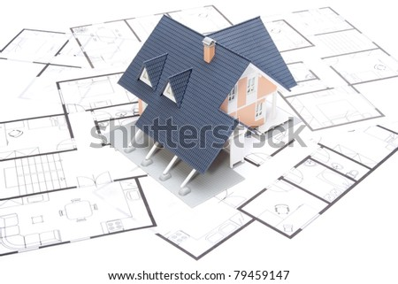 Model of the house on blueprints