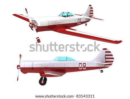 Model of the sports plane on a white background