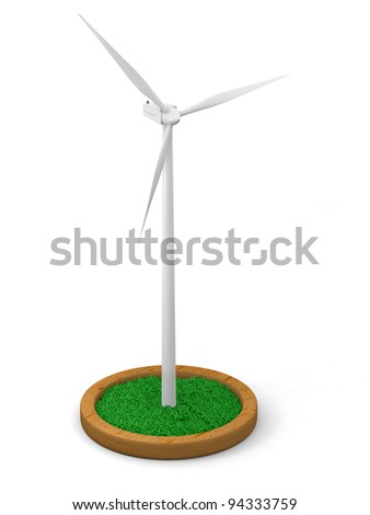 Model of wind turbine with grassy patch on wooden stand with white background