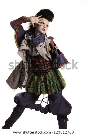 model photography girls in costumes harlequin