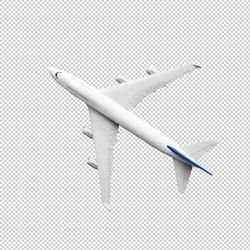 Model plane,airplane in white color mock up.