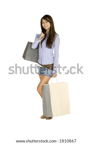 Model Release 315 Asian woman shopping