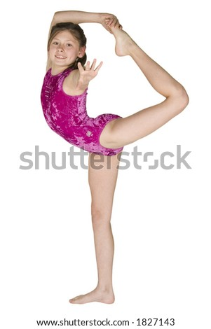 Model Release #282 10 year old caucasian girl in gymnastics poses