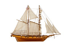 model sailing ship on a white background