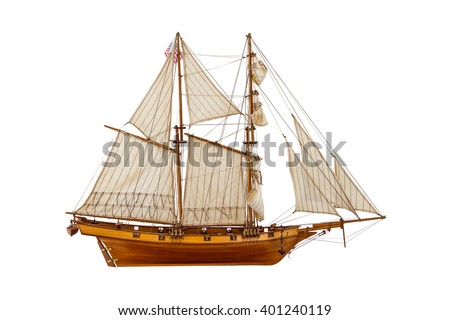 model sailing ship on a white background #401240119