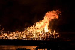 Model town ablaze to re-enact the great fire of London in 1666