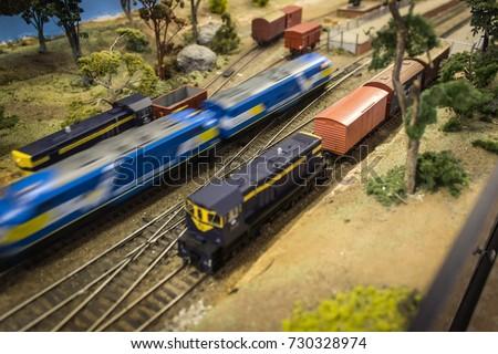 Model train set depicting Australian railways. Foto stock ©
