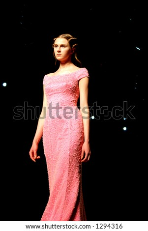 Model wearing a wedding dress at Seoul Fashion Week (Seoul Collection) Fall/Winter 2006. Hwang Jae Bock collection.