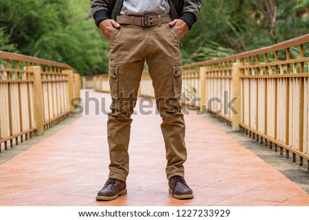 Model wearing cargo pants or cargo trousers