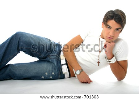 Model with jeans and white shirt