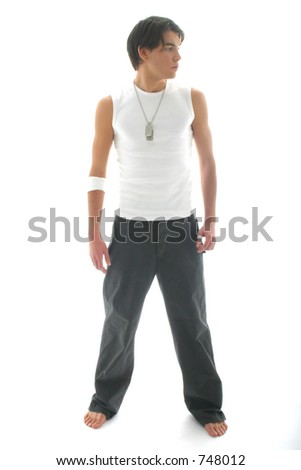 Model with jeans and white shirt looking leftwards