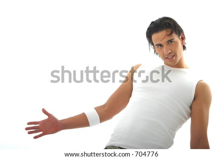 Model with white pants and green shirt - stock photo