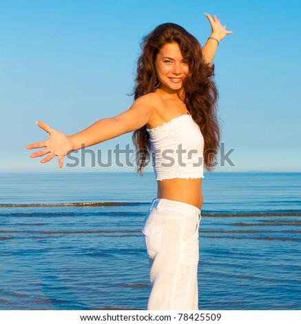 Model Woman Outdoor - stock photo